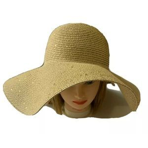 CALVIN KLEIN Gold Shimmer Straw Floppy Hat New
